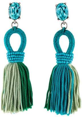 Oscar de la Renta Short Gradient Looped Tassel Earrings Blue Oscar de la Renta Short Gradient Looped Tassel Earrings