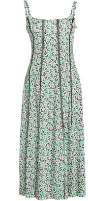 ALEXACHUNG Seamed Bodice Crepe Midi Dress