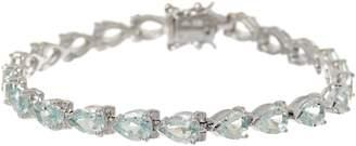 "Pear Cut Aquamarine Sterling Silver 7-1/4"" Tennis Bracelet"