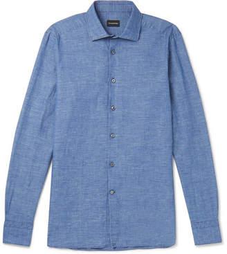 Ermenegildo Zegna Cutaway-Collar Slub Linen and Cotton-Blend Shirt