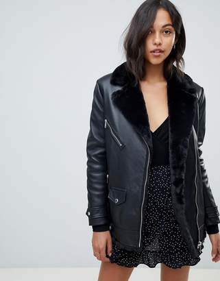 LAB LEATHER Lab Leather Longline Biker Jacket with Faux Fur Internal and Collar