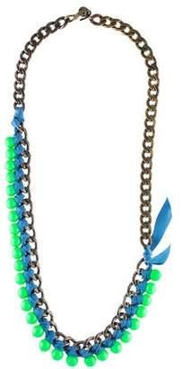 Lanvin Bead & Woven Ribbon Collar Necklace