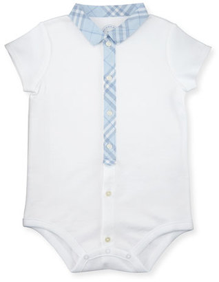 Burberry Tannar Check-Placket Jersey Playsuit, Ice Blue/White, Size 3-24 Months $60 thestylecure.com