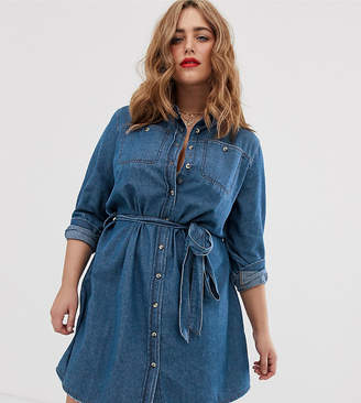 Simply Be denim shirt dress with belted waist in blue