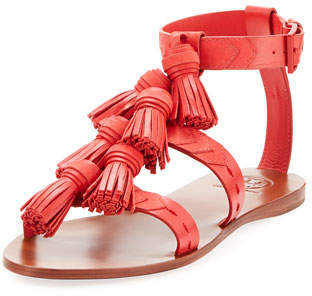 Tory Burch Weaver Leather Tassel Sandal