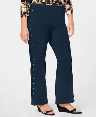 JM Collection Plus Size Side-Stud Pants