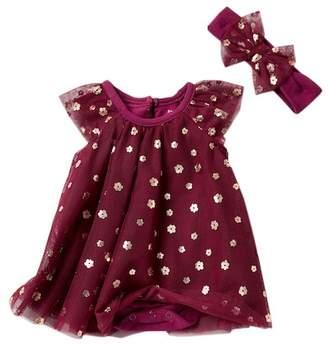 Baby Starters Foil Flowers Bodysuit Dress & Headband Set (Baby Girls)