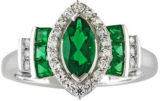 JCPenney FINE JEWELRY Lab-Created Emerald and White Sapphire Sterling Silver Ring
