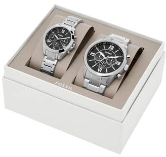 Fossil His And Her Chronograph Stainless Steel Watch Gift Set Jewelry SET