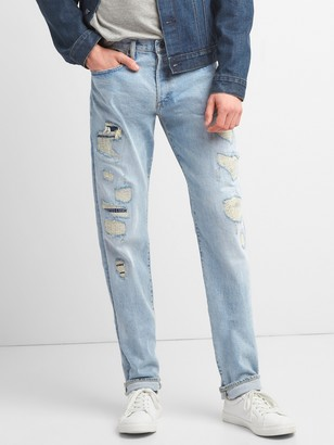 Gap Limited-Edition Distressed Cone Denim Selvedge Slim Jeans with GapFlex