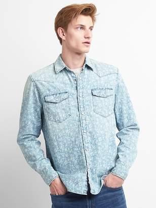 Gap Slim Fit Floral Print Western Shirt in Denim