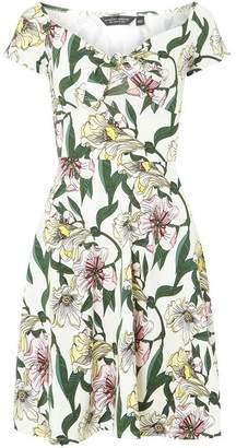 Dorothy Perkins Womens Ivory Floral Mini Skater Dress