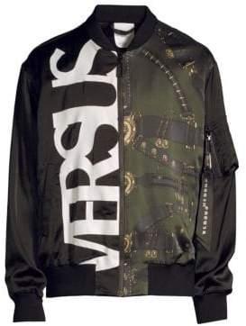 Versus By Versace Silk Dual-Graphic Bomber Jacket
