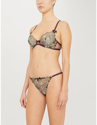 Agent Provocateur Sparkle metallic floral-embroidered mesh underwired bra