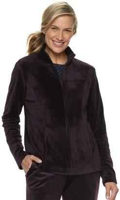 Croft & Barrow Women's Zip-Front Velour Jacket