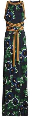 Tory Burch Woven-Trimmed Printed Jersey Maxi Dress