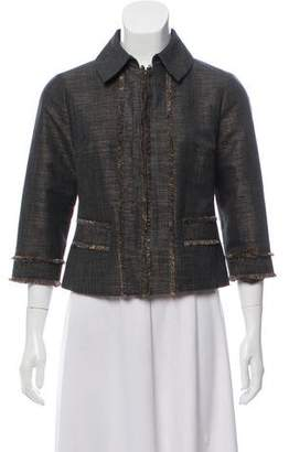 Magaschoni Fray-Accented Collared Jacket