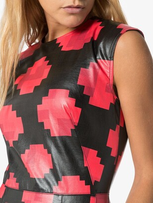 Marni pixel print faux leather top
