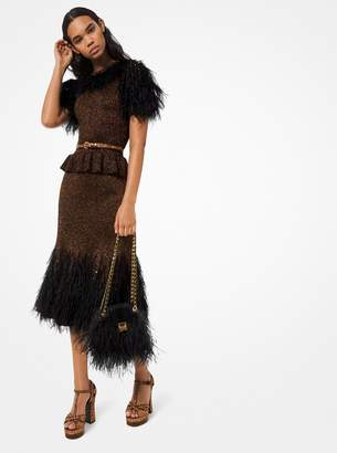 Michael Kors Feather Embroidered Metallic Knit Peplum Dress