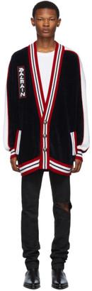 Balmain Navy Striped Long Cardigan
