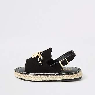 River Island Mini girls black sling back espadrille sandal