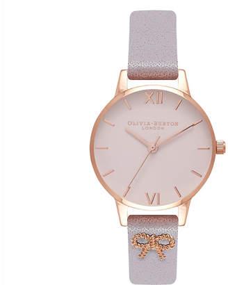 Olivia Burton OB16VB05 3D Vintage Bow rose gold-plated leather watch