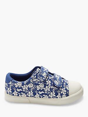 John Lewis Children's Ellie Floral Rip-Tape Shoes, Blue