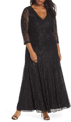 Pisarro Nights Beaded Lace Evening Dress with Bolero