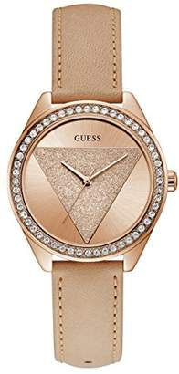 GUESS Women's Stainless Steel Leather Crystal Glitter Watch