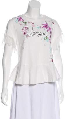 Cinq à Sept Lace-Trimmed Short Sleeve T-Shirt