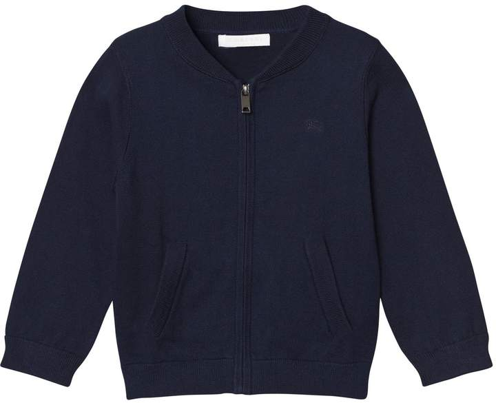 Navy Zip Knit Jacket with Classic Check Turn-up Cuffs