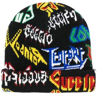 Gucci multilogo beanie hat