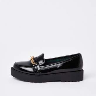 River Island Black wide fit chunky chain loafers