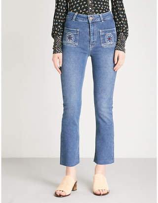 The Kooples Nory embellished kick-flare jeans