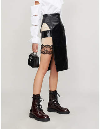 Christopher Kane Tab-side leather and lace skirt