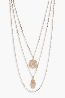 boohoo Layered Horoscope & Hamsa Hand Necklace
