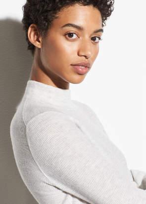 Wool-Cashmere Waffle Mock Neck Sweater