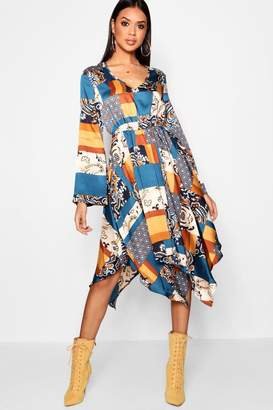 boohoo Bohemian Scarf Print Midi Dress