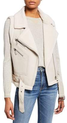 Belle Fare Leather Moto Vest w/ Fur Lining