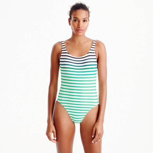 J.Crew Scoopback one-piece swimsuit in ombré stripe