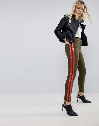 Asos Design Deconstructed Skinny Pants with Side Stripe in Khaki