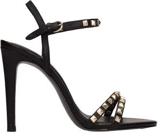 Ash Glam Black Leather Sandals