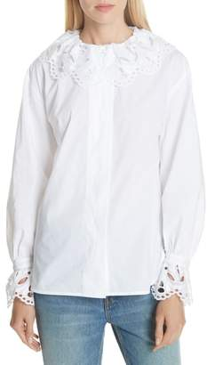 Sandro Lace Trim Cotton Blouse