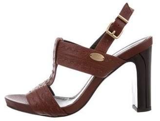 Fendi Leather T-Strap Sandals