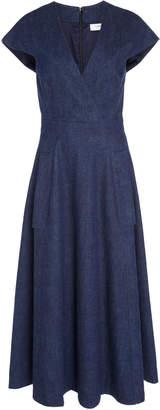 Carolina Herrera V-Neck Faux Wrap Midi Dress