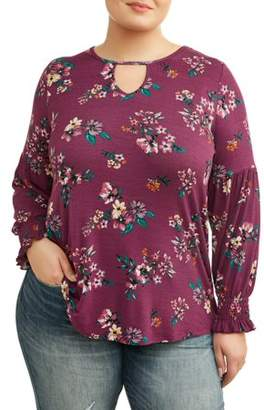 French Laundry Women's Plus Size Bishop Sleeve Keyhole Top