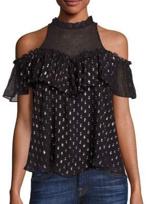 Rebecca Taylor Metallic Cold-Shoulder Top