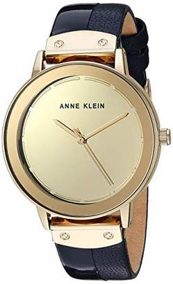 Anne Klein Women's AK/3226GMNV Gold-Tone and Navy Blue Leather Strap Watch