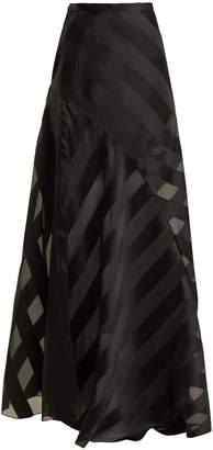 Lanvin High-rise chevron-striped silk-blend skirt