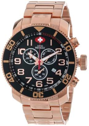 Swiss Precimax Men's SP13040 Verto Pro Black Dial with Rose- Stainless Steel Band Watch